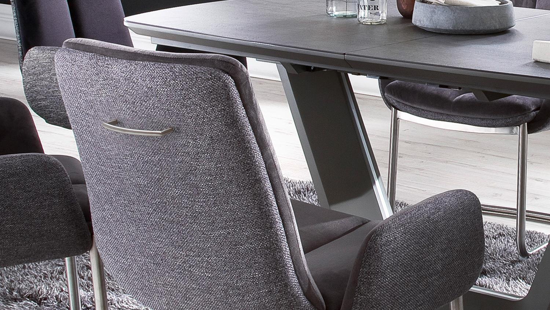 schwingstuhl grigor 2er set stuhl stoff dunkelgrau grau mit armlehne. Black Bedroom Furniture Sets. Home Design Ideas