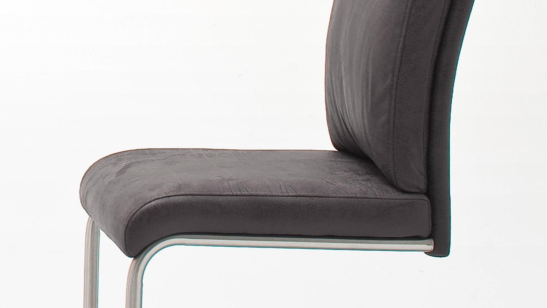 Schwingstuhl PIA 2er Set Stuhl Freischwinger in antik grau mit Griff