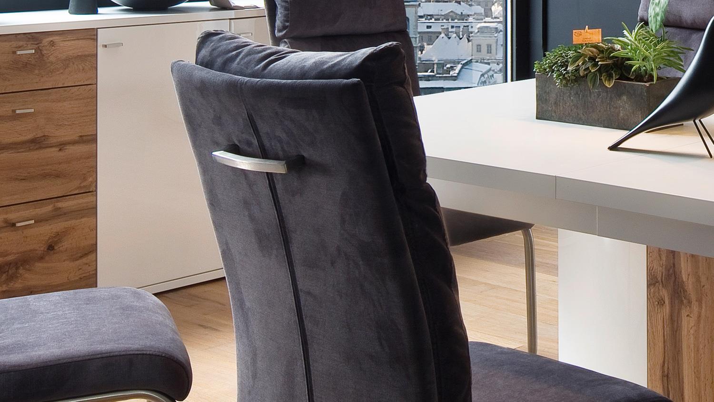 Schwingstuhl PIA 2er Set Stuhl Freischwinger Stoff anthrazit mit Griff