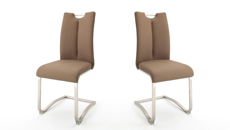 Schwingstuhl ARTOS 2 2er Set Stuhl Freischwinger Echtleder