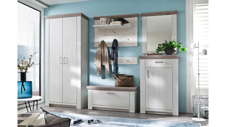 Garderobe 1 Bozen Flurmobel Komplett Set Pinie Weiss Und Eiche Landhaus