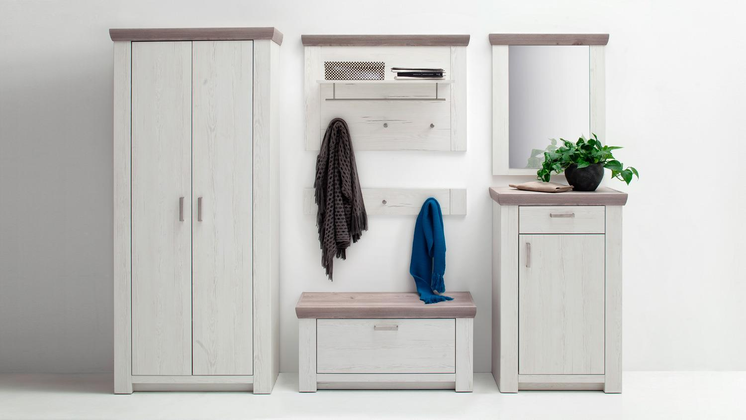 garderobe 1 bozen flurm bel komplett set pinie wei und eiche landhaus. Black Bedroom Furniture Sets. Home Design Ideas