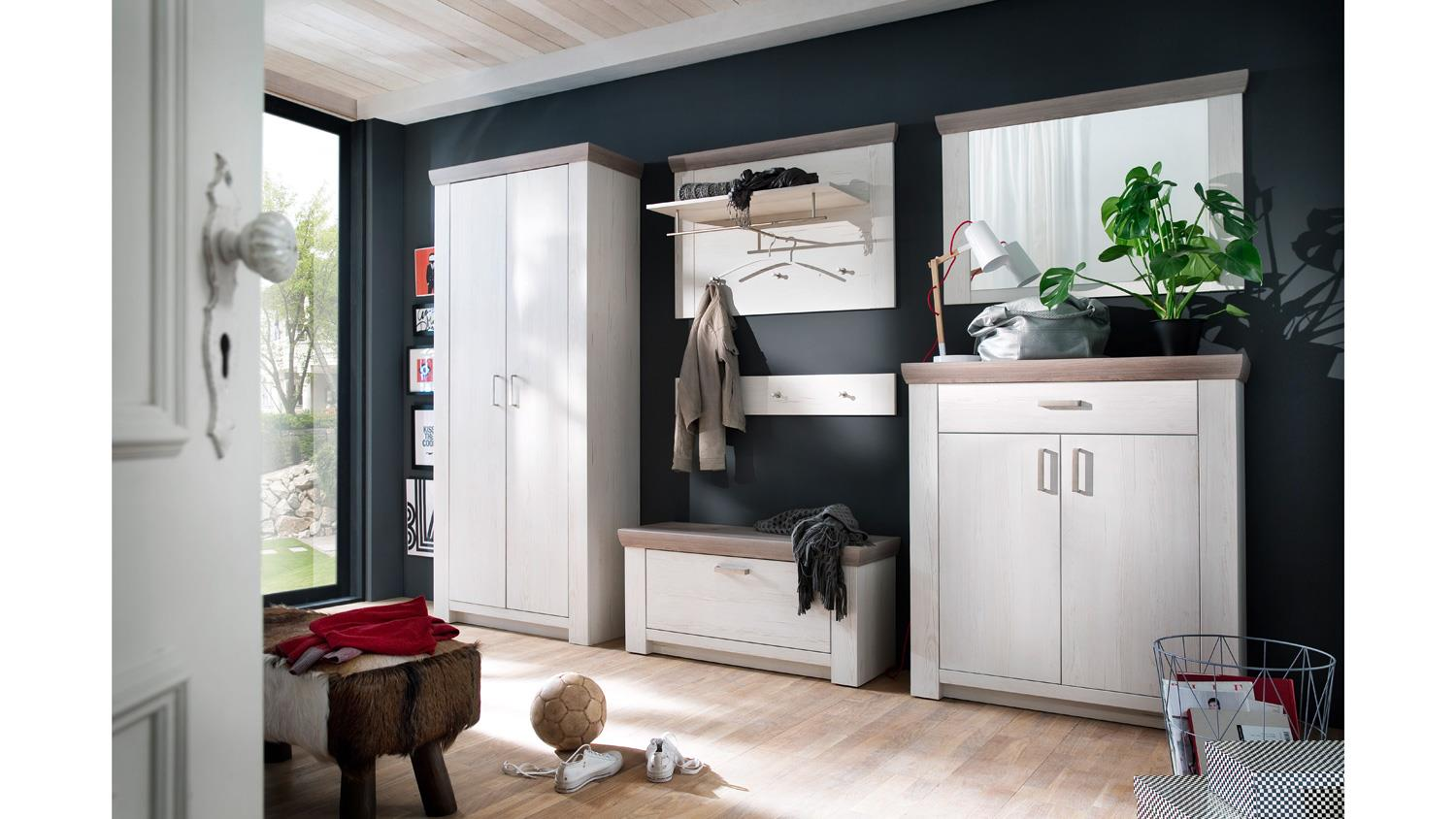 garderobe 2 bozen flurm bel komplett set pinie wei und eiche landhaus. Black Bedroom Furniture Sets. Home Design Ideas