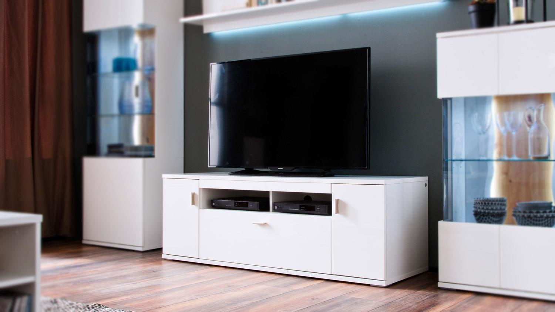 Tv Board 30 Loreto Lowboard Wohnzimmer In Weiss Hochglanz