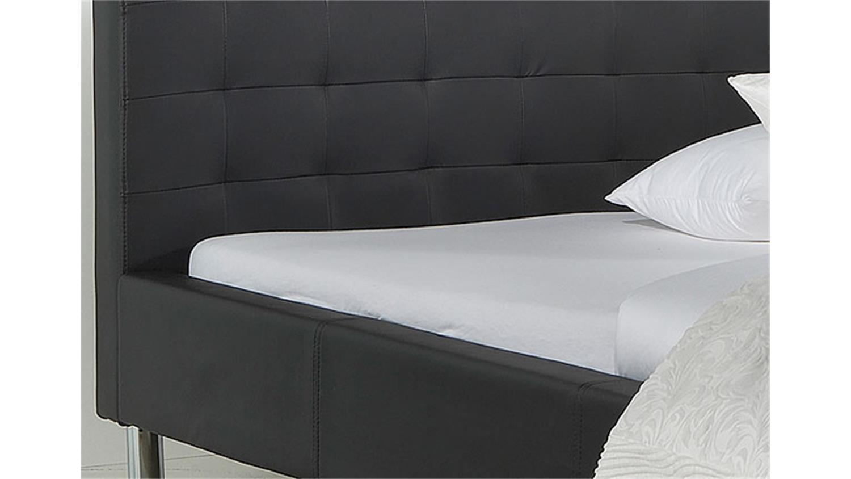 polsterbett mogy bett in schwarz und chrom 140x200 cm. Black Bedroom Furniture Sets. Home Design Ideas