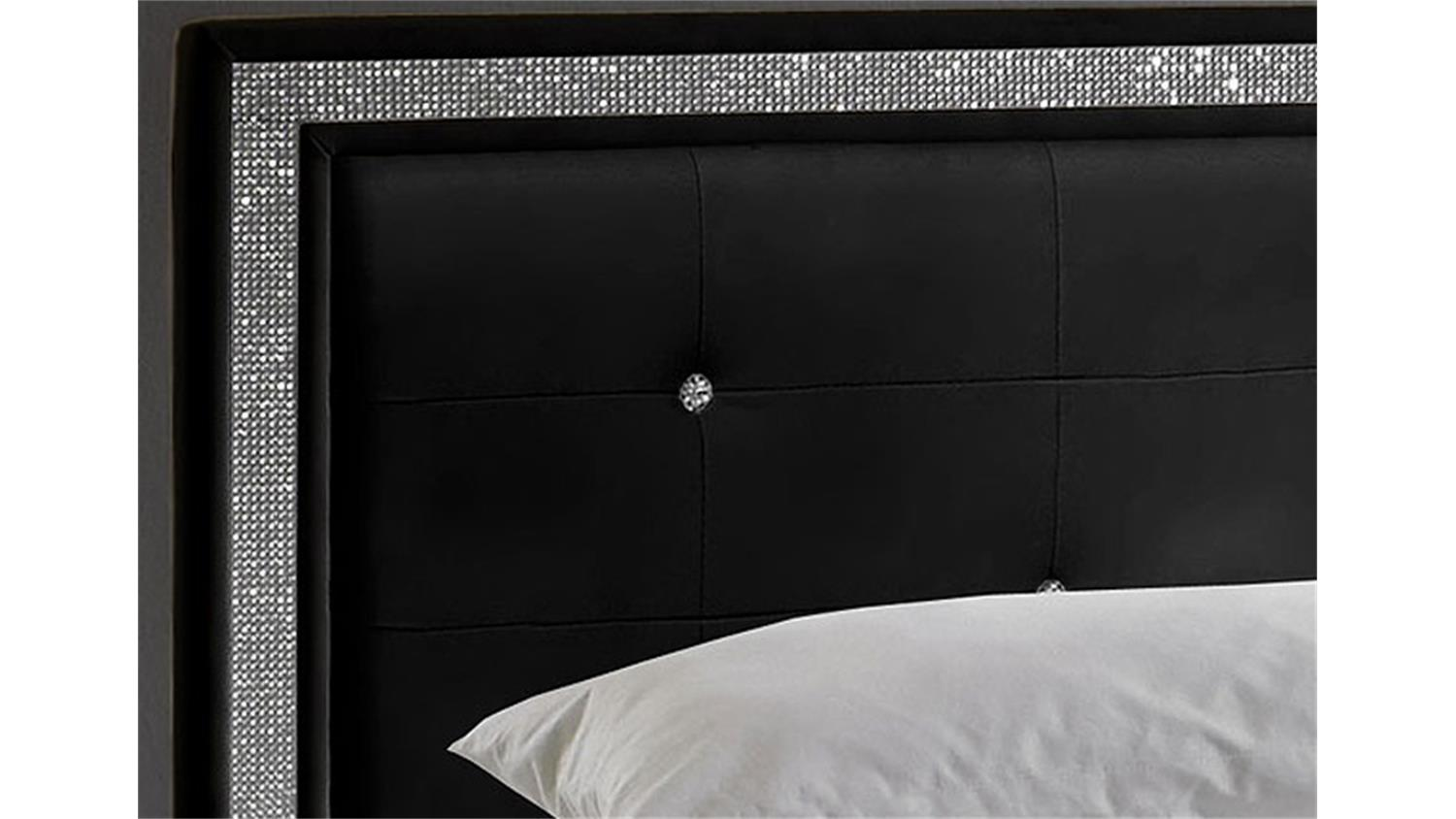 myla polsterbett schwarz mit strass 180x200 cm. Black Bedroom Furniture Sets. Home Design Ideas