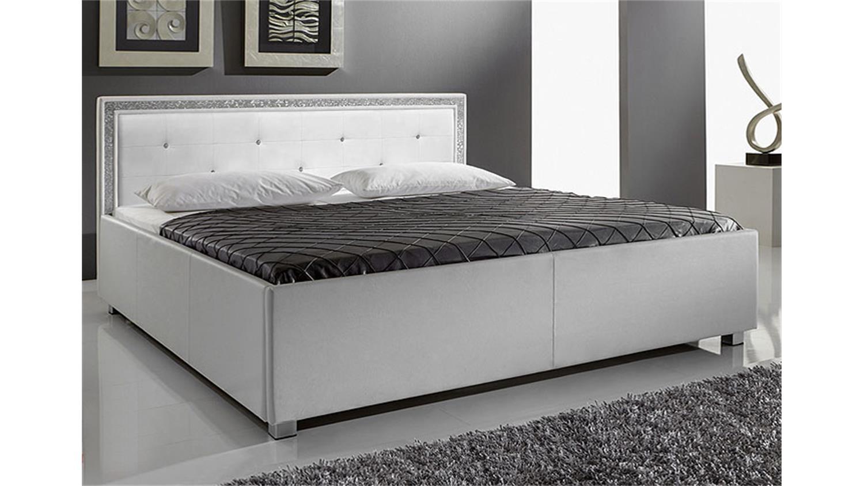 myla polsterbett wei mit strass 180x200 cm. Black Bedroom Furniture Sets. Home Design Ideas
