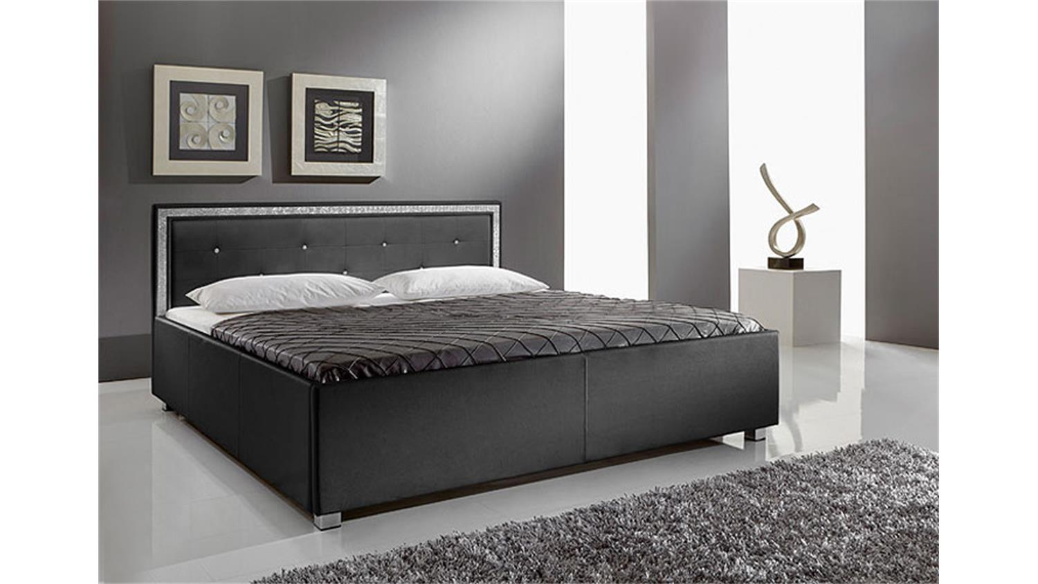 polsterbett bett myles i wei kunstleder kopfteil mit. Black Bedroom Furniture Sets. Home Design Ideas