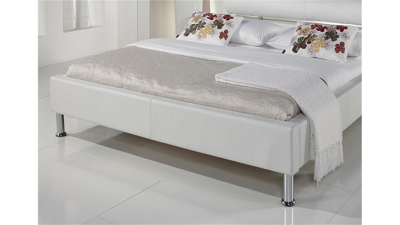 polsterbett manelli designer bett in wei 140x200 cm. Black Bedroom Furniture Sets. Home Design Ideas