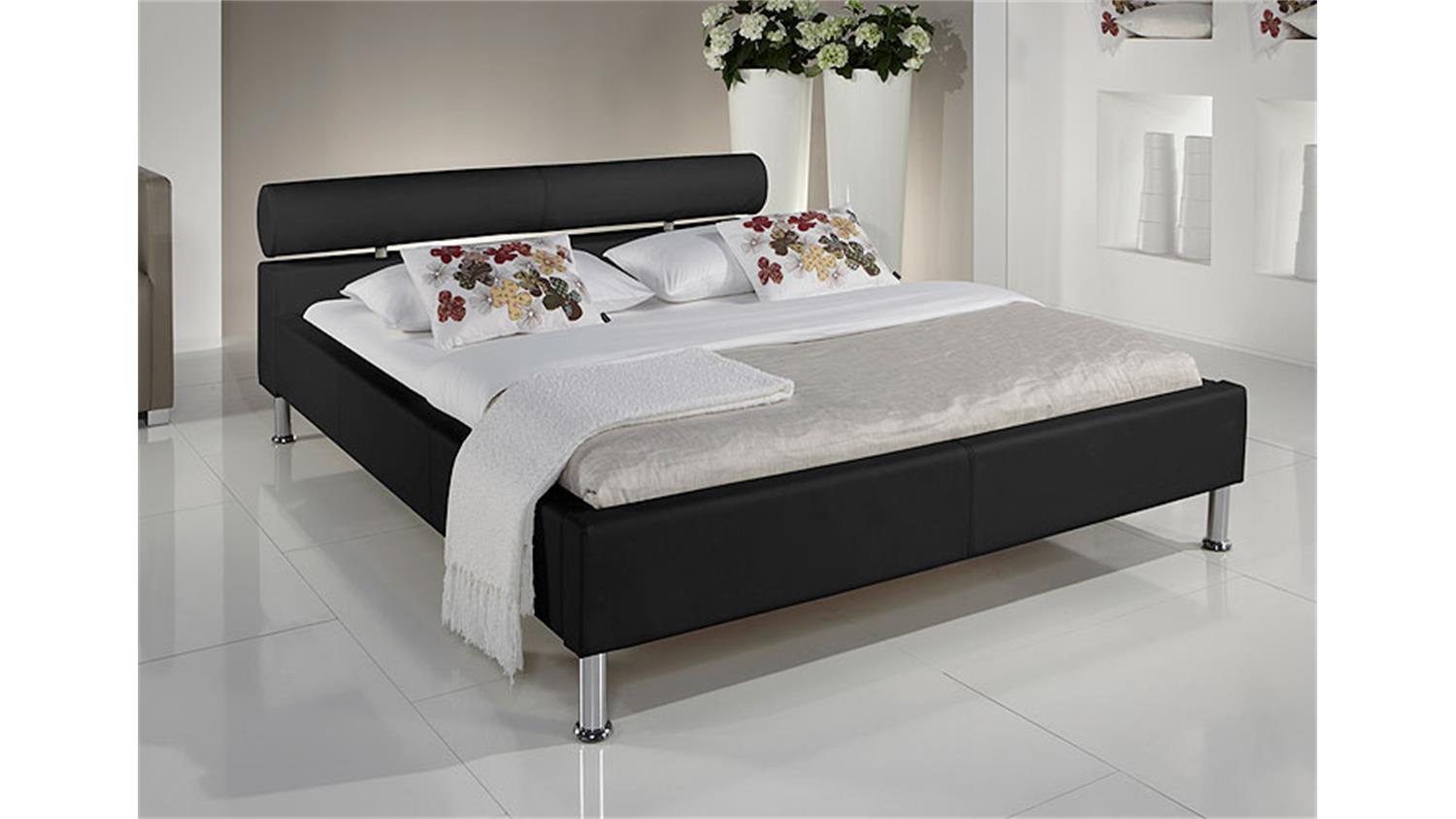 polsterbett manelli designer bett in schwarz 140x200 cm. Black Bedroom Furniture Sets. Home Design Ideas