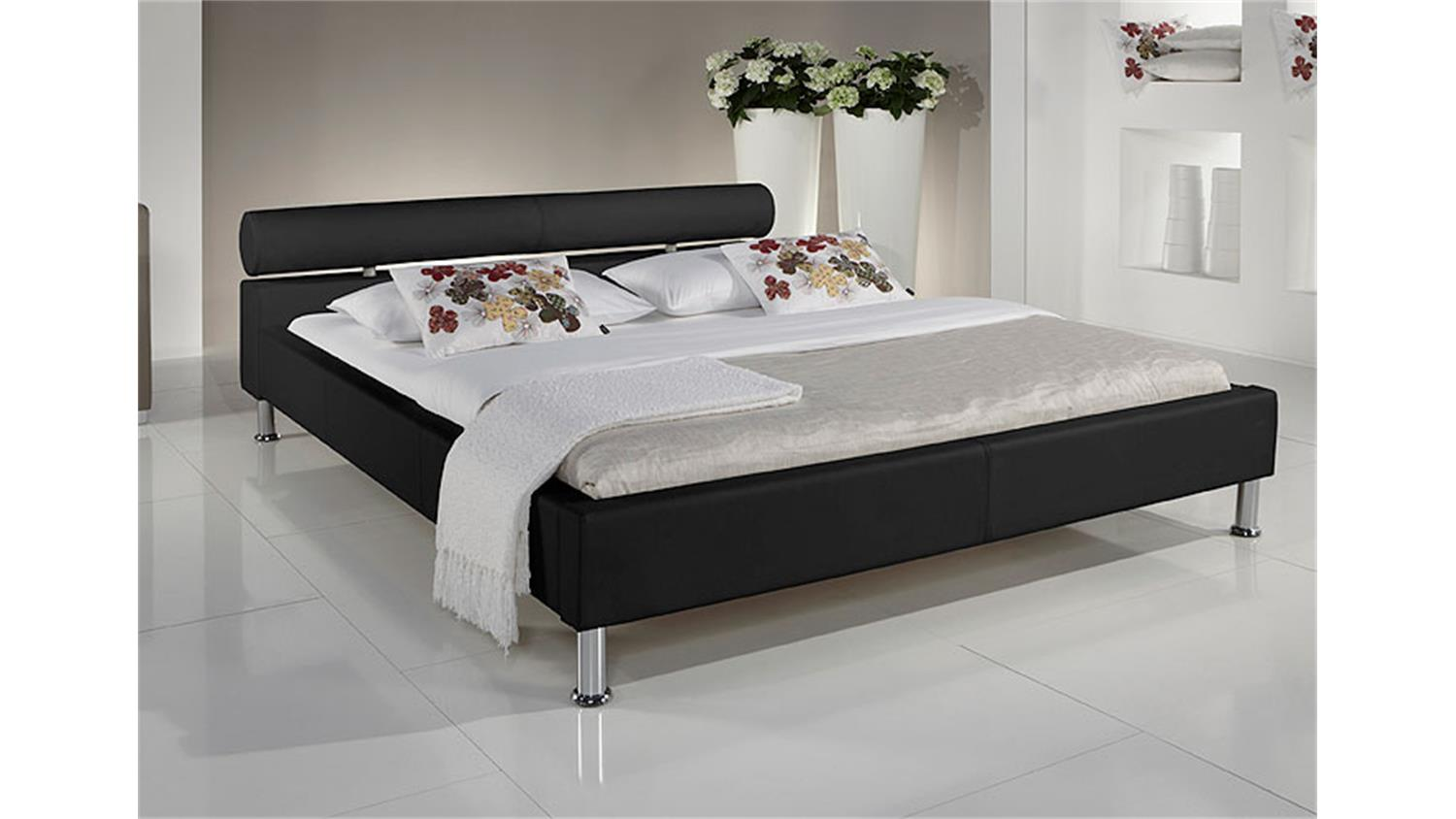 polsterbett manelli designer bett in schwarz 180x200 cm. Black Bedroom Furniture Sets. Home Design Ideas
