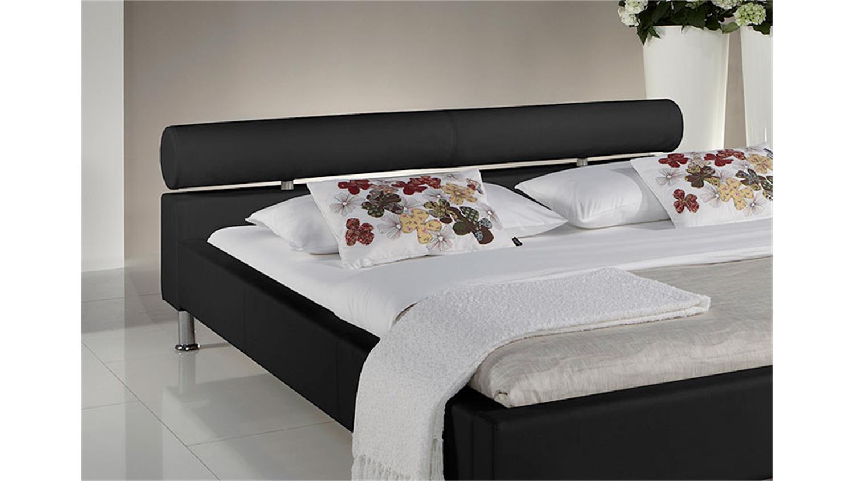 polsterbett manelli designer bett in schwarz 180x200 cm. Black Bedroom Furniture Sets. Home Design Ideas