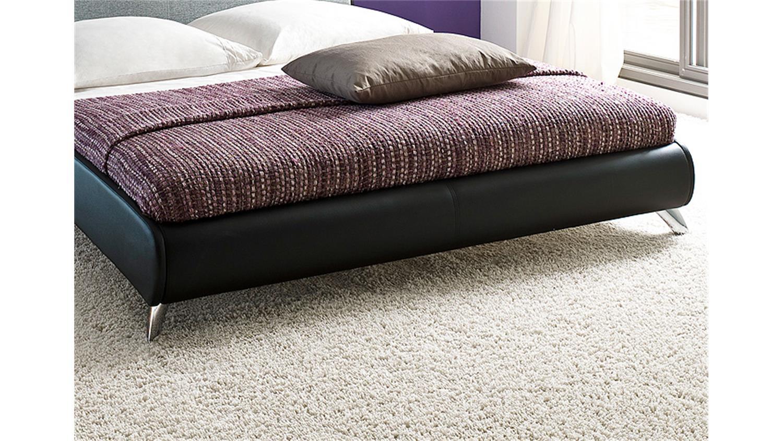 polsterbett relax schwarz mit kopfteil hellgrau 180x200. Black Bedroom Furniture Sets. Home Design Ideas