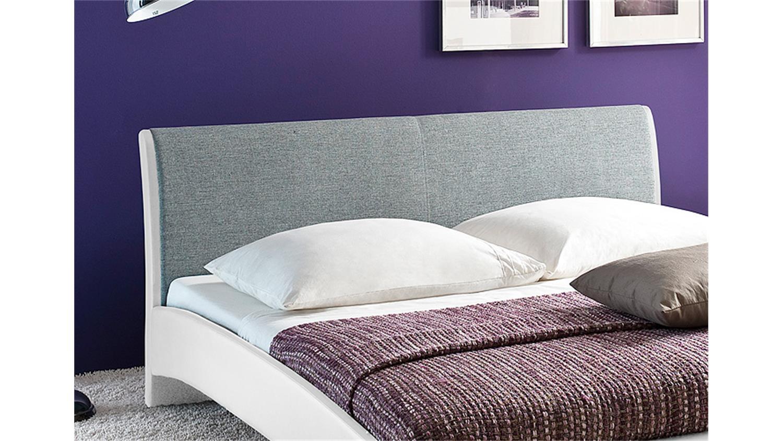 polsterbett relax wei kopfteil stoff hellgrau 140x200 cm. Black Bedroom Furniture Sets. Home Design Ideas