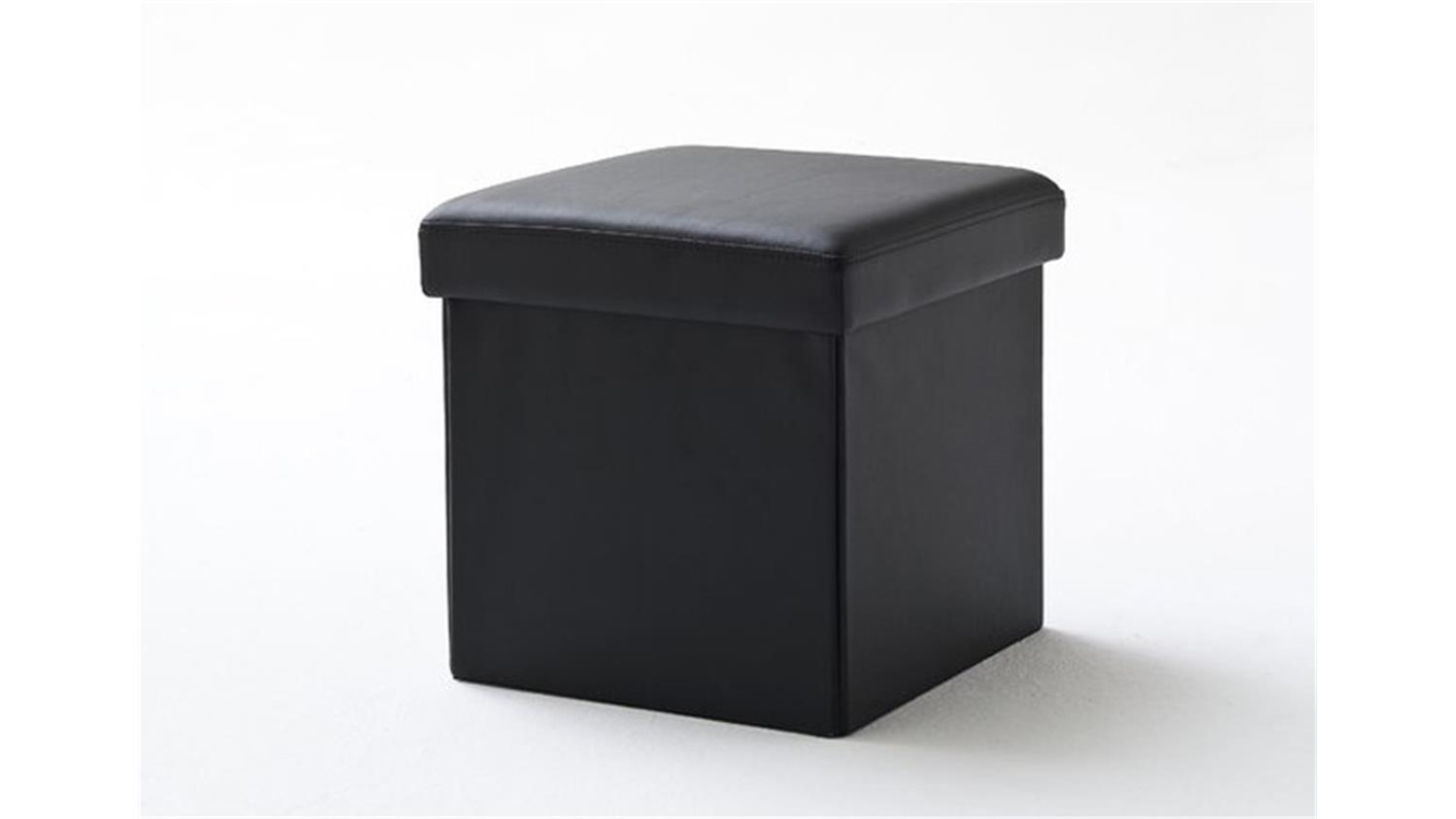 w rfel box mit deckel und stauraum in schwarz 40x40 cm. Black Bedroom Furniture Sets. Home Design Ideas