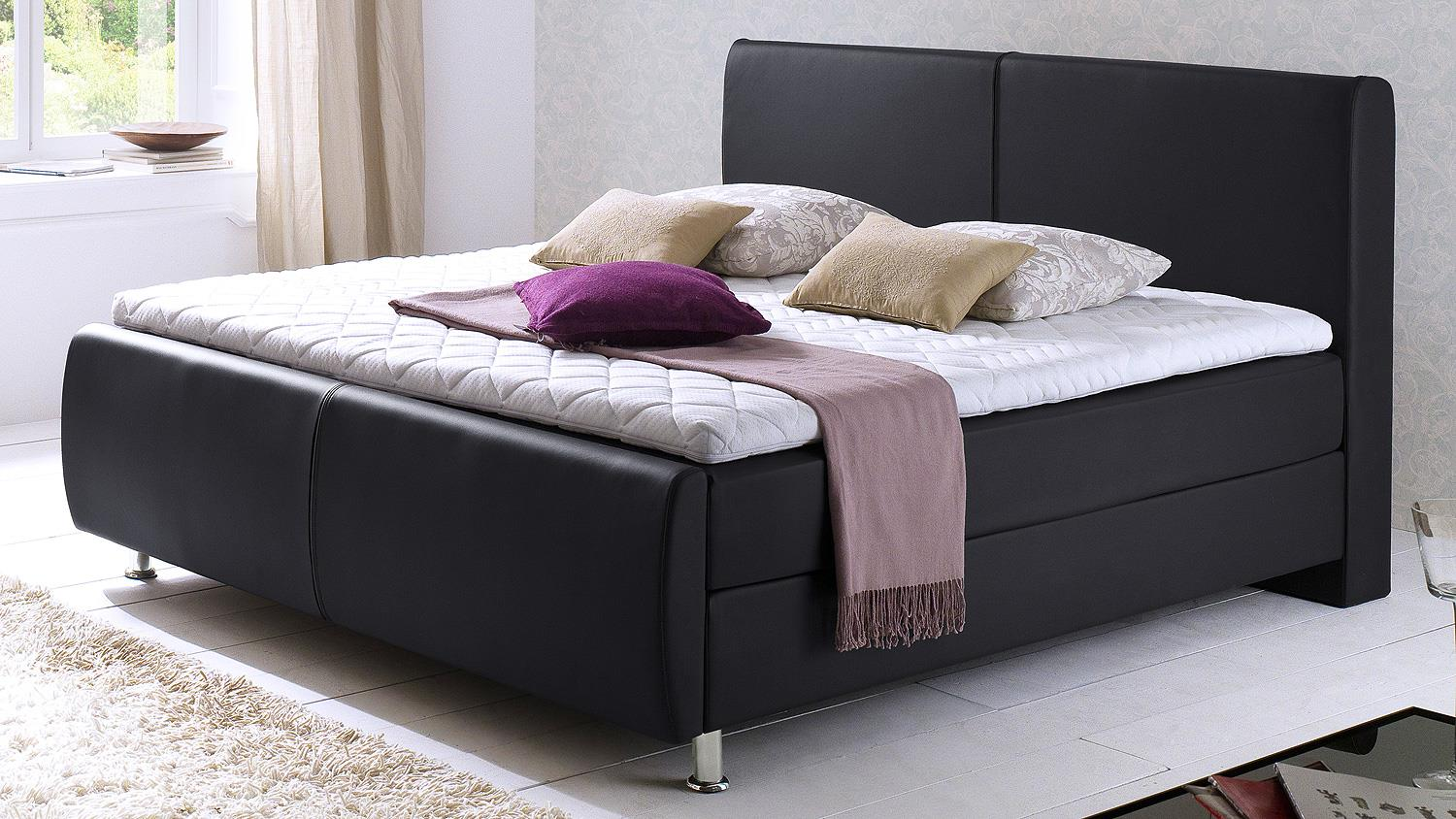 boxspringbett amadeo schwarz mit kopfteil topper 180x200. Black Bedroom Furniture Sets. Home Design Ideas