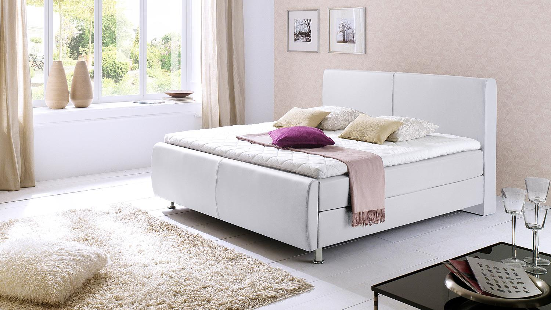boxspringbett amadeo wei mit kopfteil topper 180x200. Black Bedroom Furniture Sets. Home Design Ideas