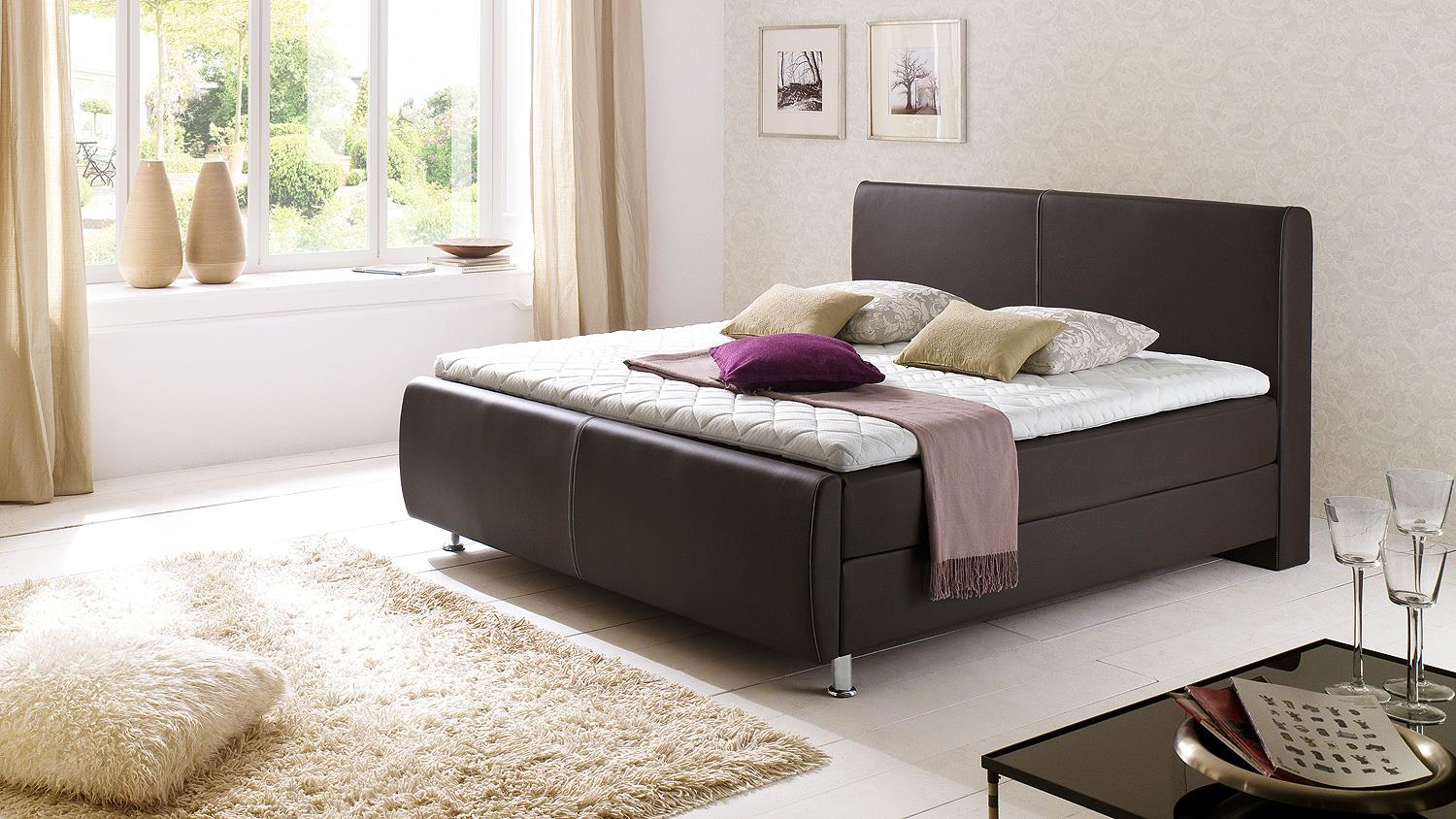 boxspringbett amadeo braun mit kopfteil topper 180x200. Black Bedroom Furniture Sets. Home Design Ideas