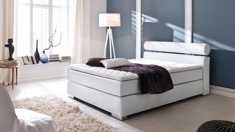 boxspringbett anello wei mit kopfteil und topper 180x200. Black Bedroom Furniture Sets. Home Design Ideas