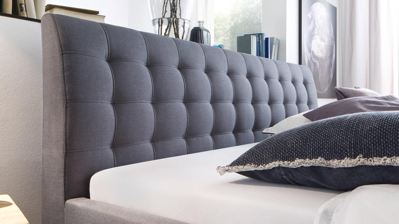 Bett luca jugendzimmerbett doppelbett stoff in grau 180x200 cm for Bett grau 180x200