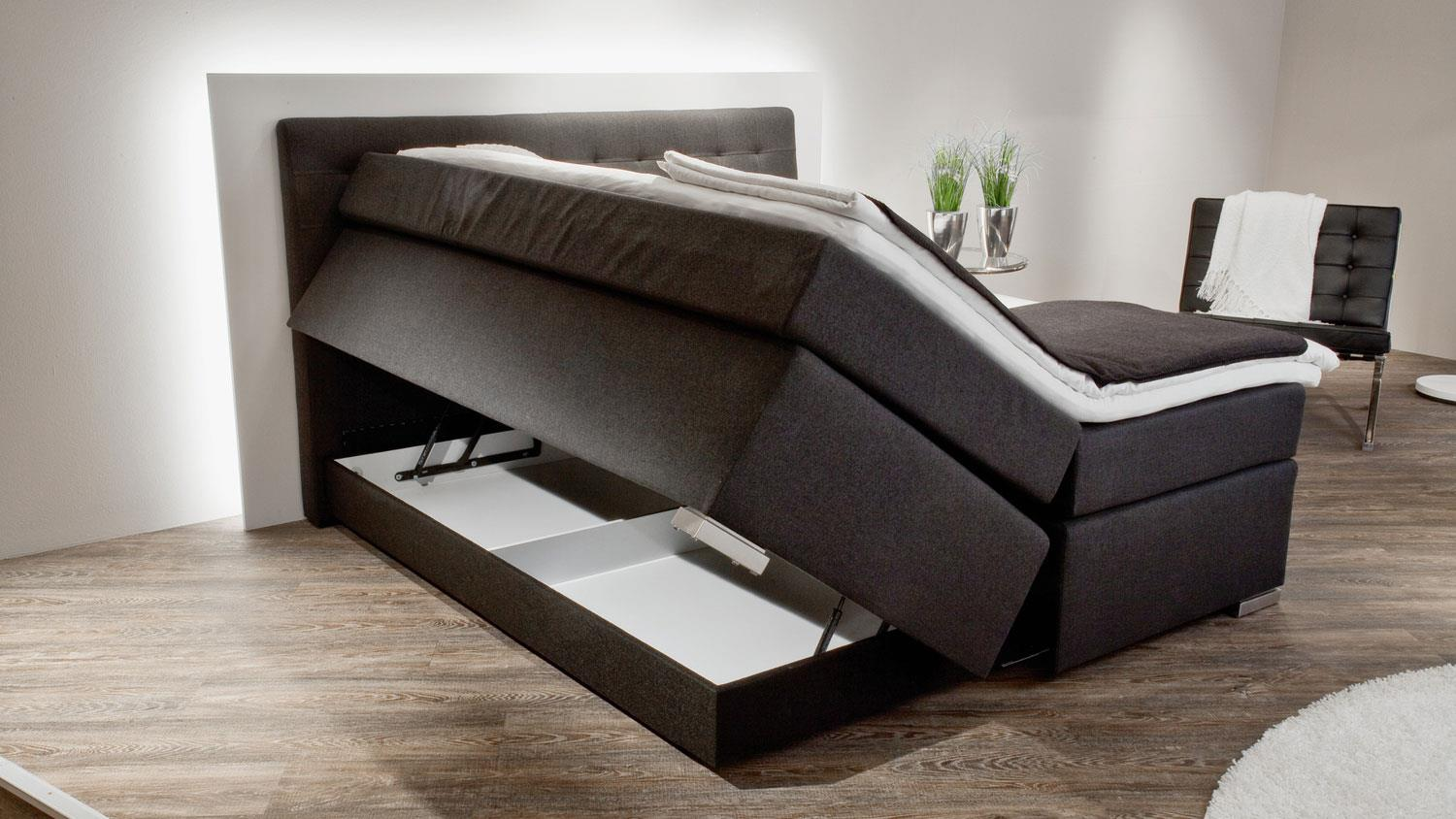boxspringbett lenno stoff anthrazit mit bettkasten 180x200 cm. Black Bedroom Furniture Sets. Home Design Ideas