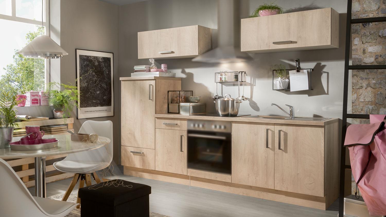 Küchenzeile ANNA Asteiche Küchenblock 270 cm mit Spüle
