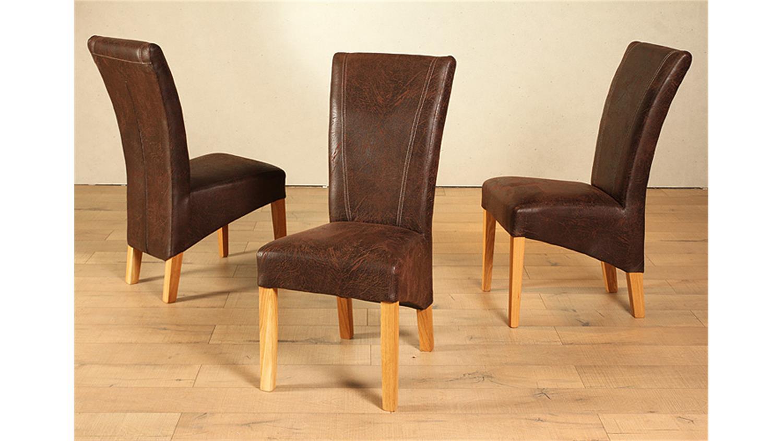 Stuhl lord 6er set antik braun und eiche massiv for Stuhl eiche