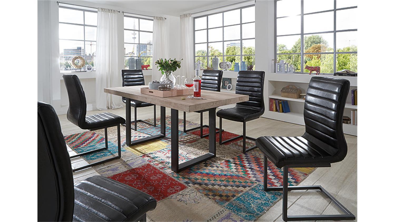 schwingstuhl percy 4er set glanz schwarz und eisen grau. Black Bedroom Furniture Sets. Home Design Ideas