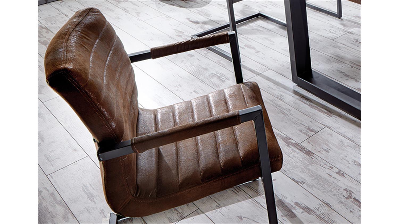 Stuhl Parzival 4er Set Antik Braun Eisen Grau Armlehne