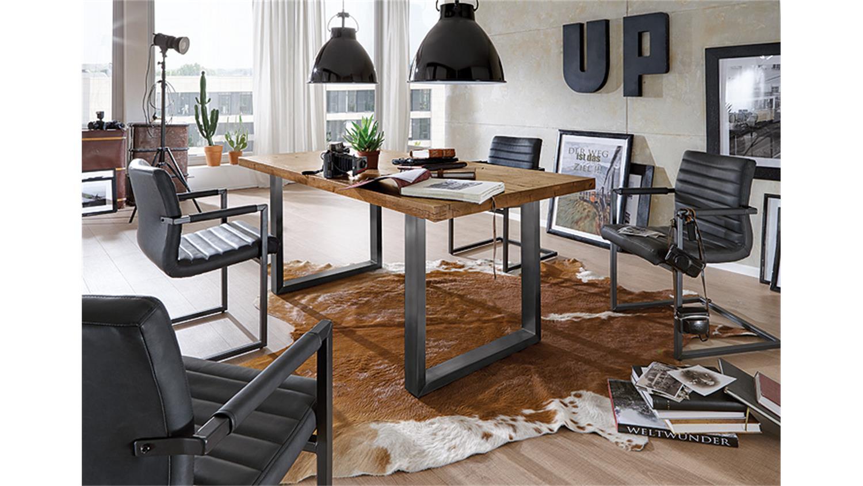 stuhl parzival 4er set anthrazit eisen grau armlehne. Black Bedroom Furniture Sets. Home Design Ideas