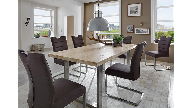esstisch brooklyn eiche wei gek lkt edelstahl 180x90. Black Bedroom Furniture Sets. Home Design Ideas