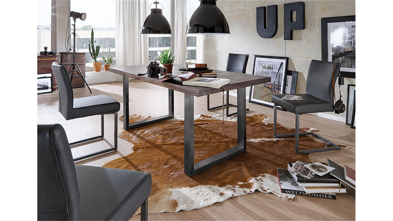 esstisch brooklyn eiche verwittert eisen grau 200x100. Black Bedroom Furniture Sets. Home Design Ideas