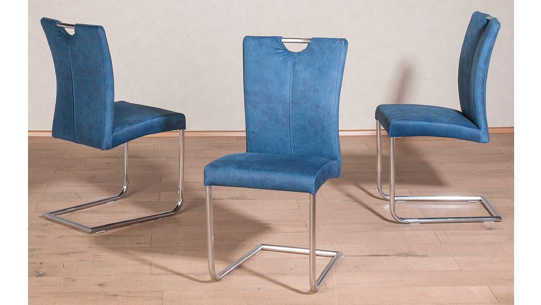 schwingstuhl heike 2er set freischwinger in petrol blau. Black Bedroom Furniture Sets. Home Design Ideas