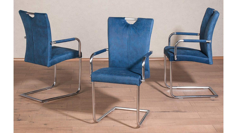 schwingstuhl heike 2er set in petrol blau mit armlehne. Black Bedroom Furniture Sets. Home Design Ideas