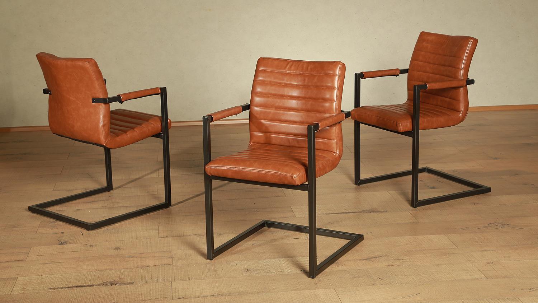 Stuhl parzival 4er set cognac eisen grau mit armlehne - Stuhl mit armlehne grau ...