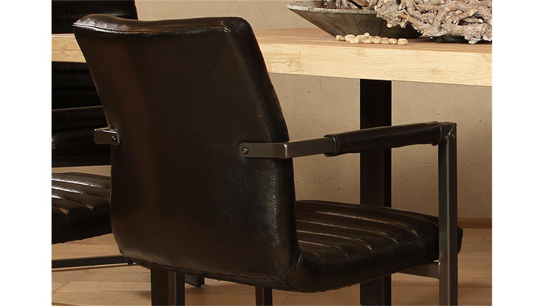 Stuhl parzival 2er set schwarz eisen grau mit armlehne for Schwingstuhl mit armlehne esszimmer