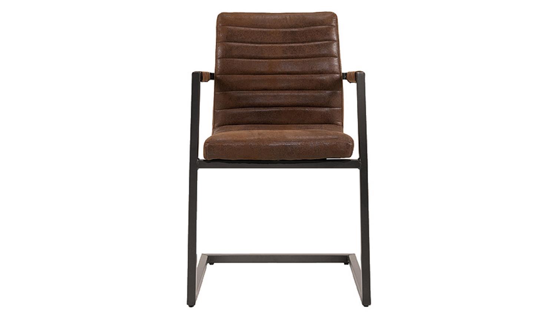 Stuhl parzival 2er set antik braun eisen grau mit armlehne for Schwingstuhl mit armlehne