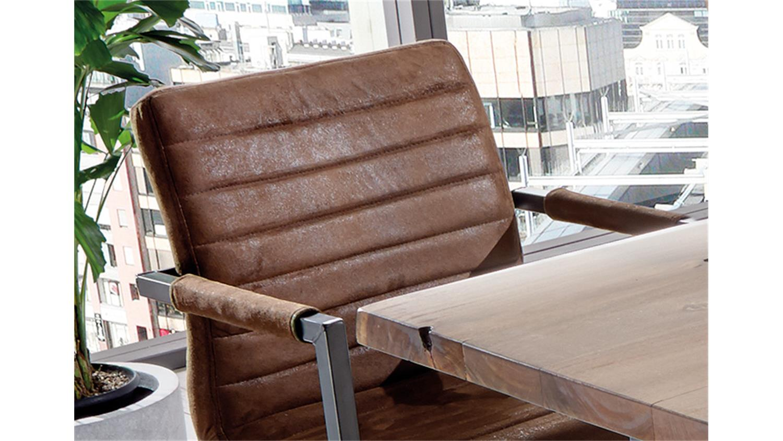 Stuhl parzival 2er set antik braun eisen grau mit armlehne for Schwingstuhl mit armlehne esszimmer