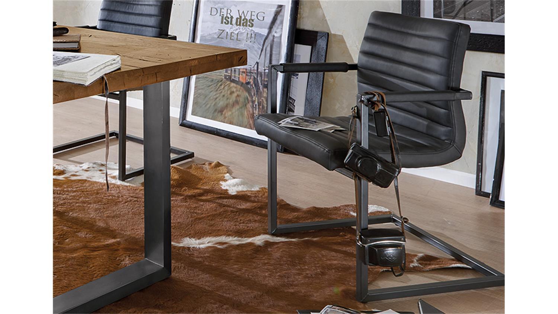 Stuhl parzival 2er set anthrazit eisen grau mit armlehne - Stuhl mit armlehne grau ...