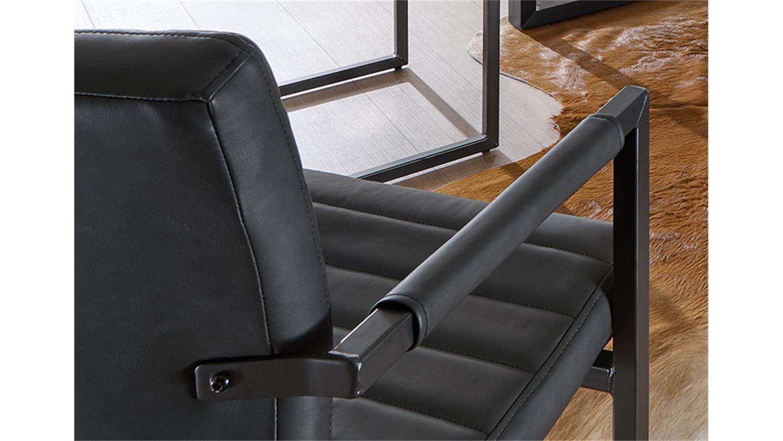 freischwinger stuhl parzival 2er set in anthrazit mit armlehne. Black Bedroom Furniture Sets. Home Design Ideas