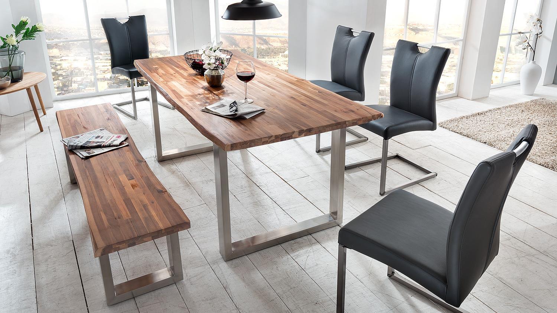 esstisch maryland akazie massiv natur ge lt edelstahl 180. Black Bedroom Furniture Sets. Home Design Ideas