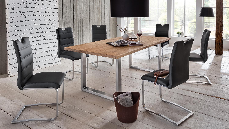 esstisch brooklyn wildeiche massiv natur edelstahl 180x90. Black Bedroom Furniture Sets. Home Design Ideas