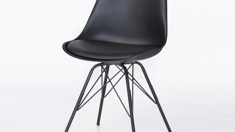 2er Set Stuhl Oslo Sitzschale In Schwarz Und Gestell Metall
