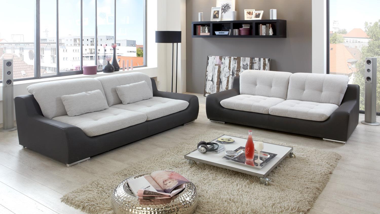 Sofa Spike 2 5 Sitzer In Hellgrau Und Anthrazit 200 Cm
