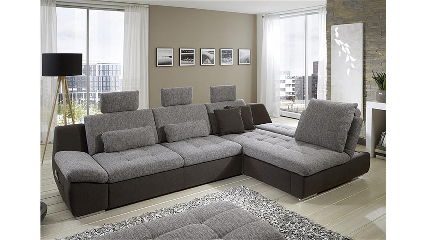 ecksofa munich grau braun mit funktionen. Black Bedroom Furniture Sets. Home Design Ideas