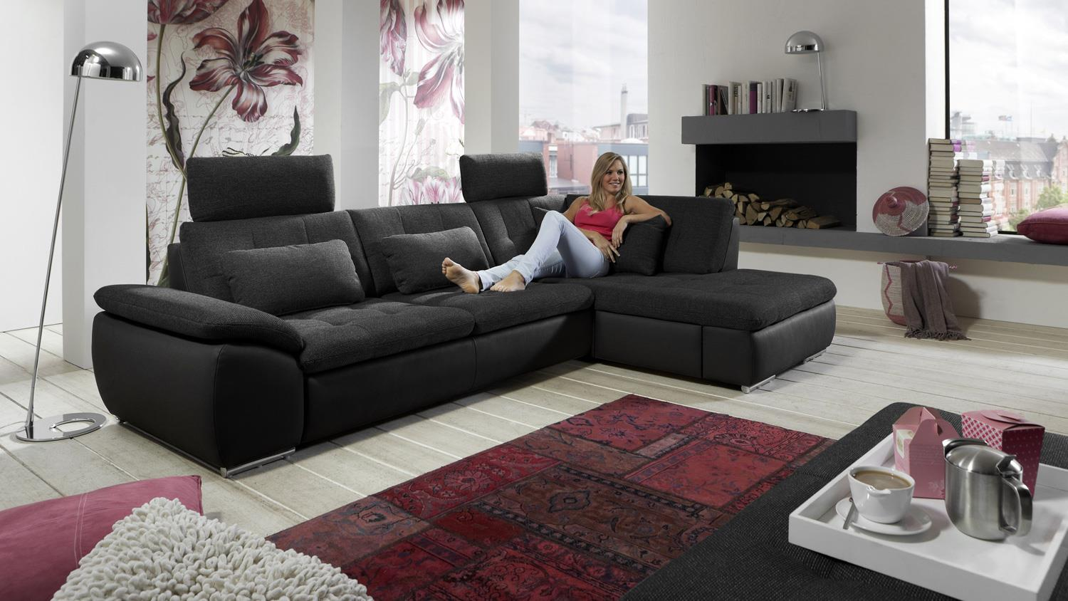 ecksofa fiesta anthrazit schwarz mit nosagfederung 295x185. Black Bedroom Furniture Sets. Home Design Ideas