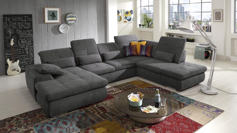 wohnlandschaft calimero in stoff grau inkl nosagfederung. Black Bedroom Furniture Sets. Home Design Ideas