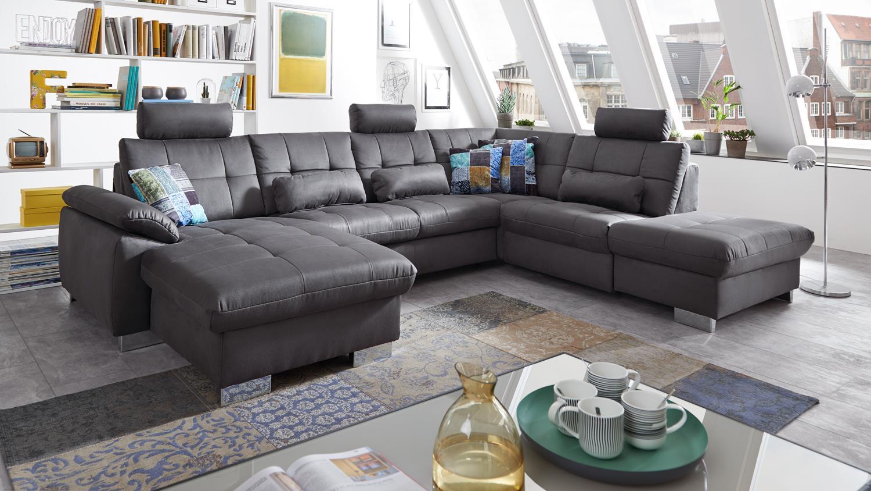 wohnlandschaft wendy bezug in stoff grau f e metall mit. Black Bedroom Furniture Sets. Home Design Ideas