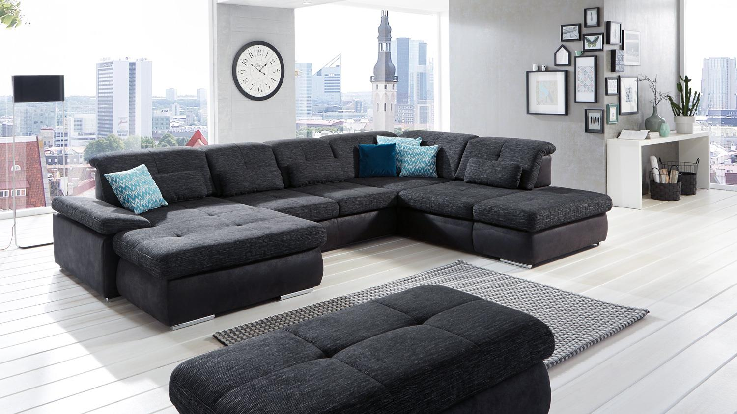 wohnlandschaft active ecksofa stoff schwarz mit. Black Bedroom Furniture Sets. Home Design Ideas