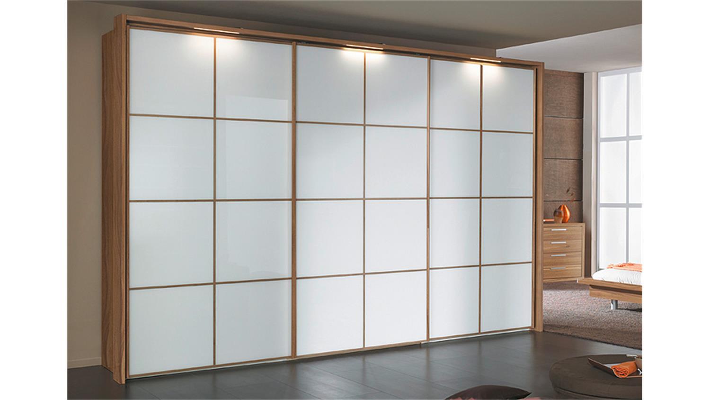 schwebet renschrank attraction walnuss und wei glas 300 cm. Black Bedroom Furniture Sets. Home Design Ideas